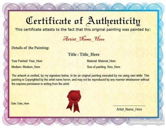 Certificate Of Authenticity Artwork Template Inspirational 37 Certificate Of Authenticity Templates Art Car Certificate Templates Moleskine Templates
