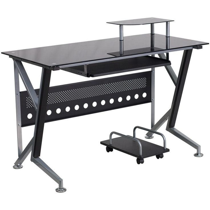 Black Glass Computer Desk with Pull-Out Keyboard Tray and CPU Cart -Black Glass…