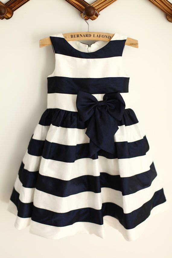 Ivory Navy Blue Stripes Taffeta Flower Girl Dress by annashome