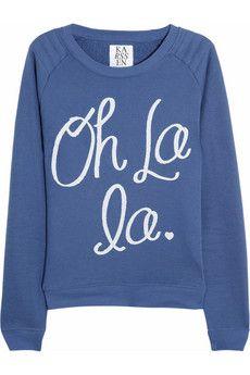 ZOE KARSSEN  Oh La La cotton-blend jersey sweatshirt