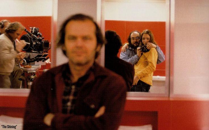 Stanley Kubrick, Vivian Kubrick, and a blurred out Jack Nicholson on 'The Shining' set