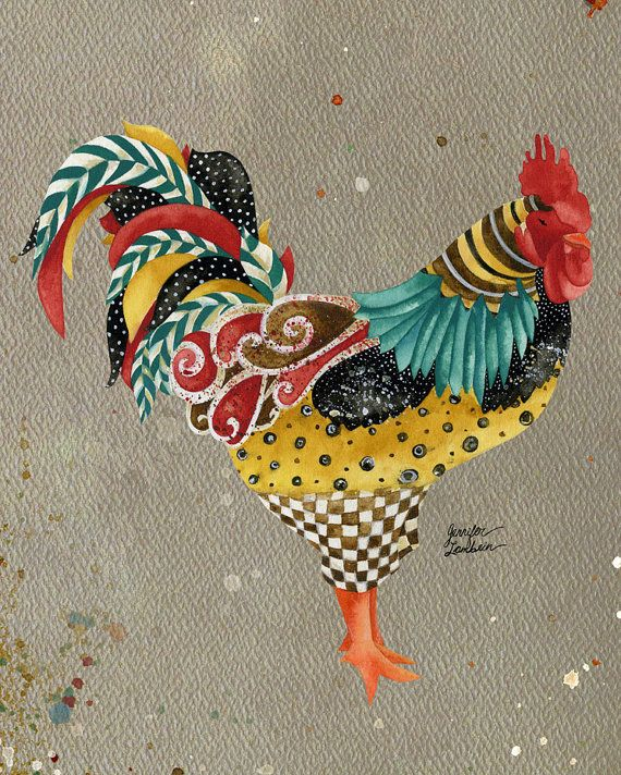 8x10 Art Print Rooster Mardi 3 by TheOpulentNest on Etsy, $18.00