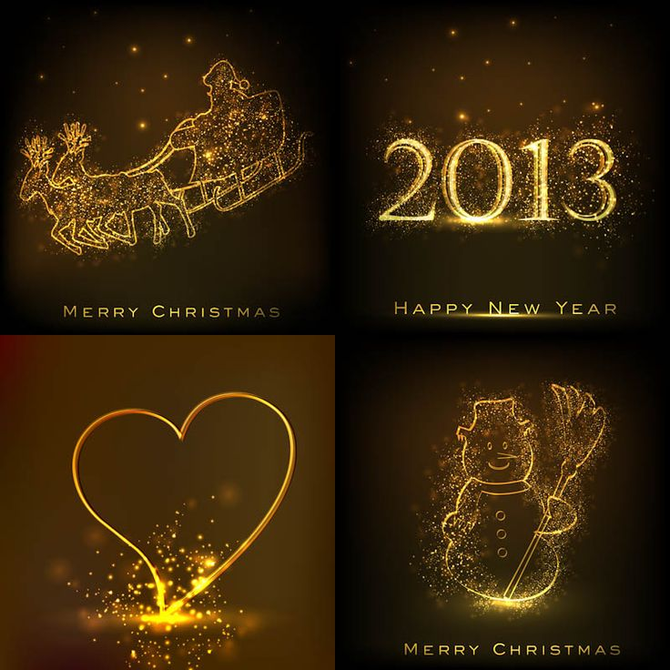 Set of 4 vector gilded Christmas and 2013 New Year backgrounds with golden Santa Claus, 2013 lettering, heart shape and snowman for your cards and designs. Format: EPS, ai stock vector clip art and illustrations. Free for download. Set name:…