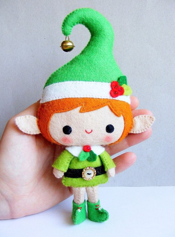 PDF pattern Santa's Elf Felt Christmas decoration por iManuFatti