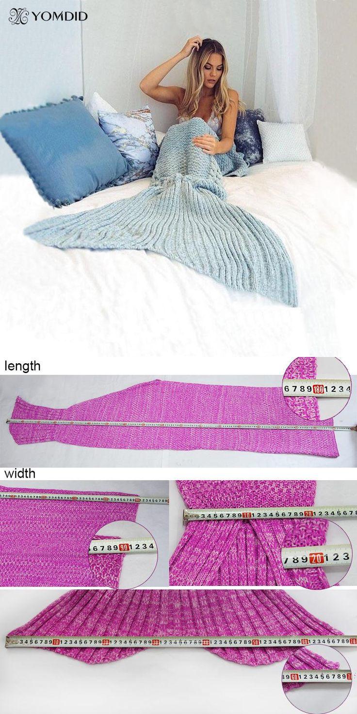 [Visit to Buy] Mermaid Blanket Yarn Knitted Mermaid Tail Blanket Handmade Crochet Very Soft For Home Sofa Sleeping Bag Kids Adults Sleeping Bag #Advertisement