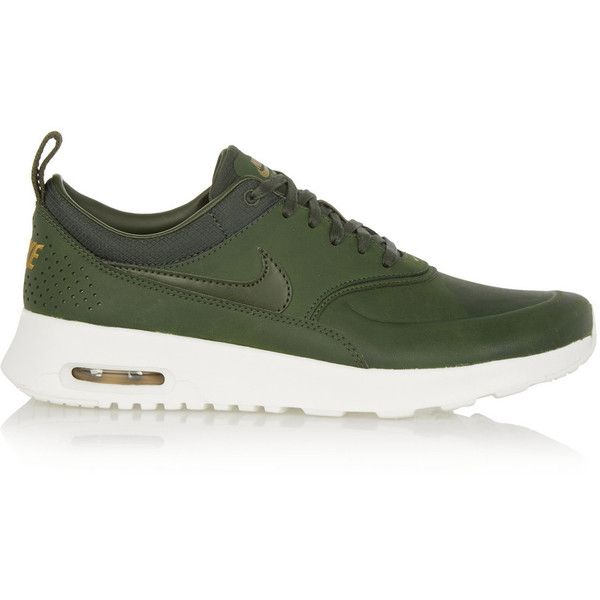 Nike Air Max Thea Premium leather sneakers found on Polyvore featuring shoes, sneakers, nike, green, green sneakers, lace up sneakers, leather sneakers, nike shoes and lace up shoes