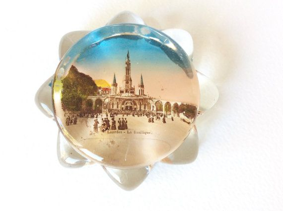 Lourdes Art Deco paperweight. Lourdes by SouthofFranceFinds