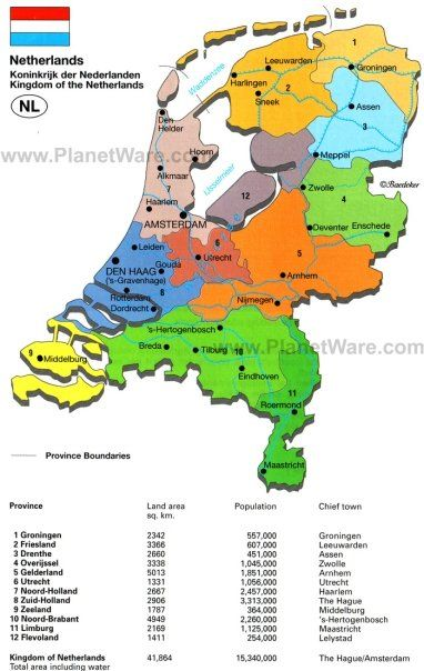 Map of Holland (The Netherlands)