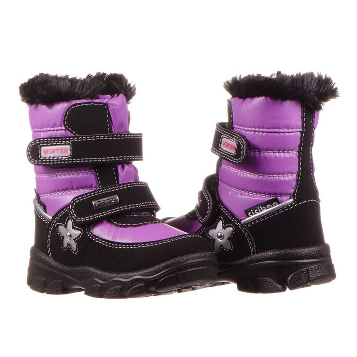 Little girl's pretty purple and black Snow boot. Fully waterproof! http://www.ciciban.ca/products/snow-lilla-39-preorder #pretty #girl #purple #black #waterproof #european #child