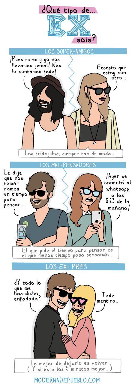 """B1/C2 - """"¿Qué tipo de ex sois?"""" ¿Qué tipos añadiríais? De Raquel Córcoles, autora de Moderna de Pueblo y El Cooltureta."""