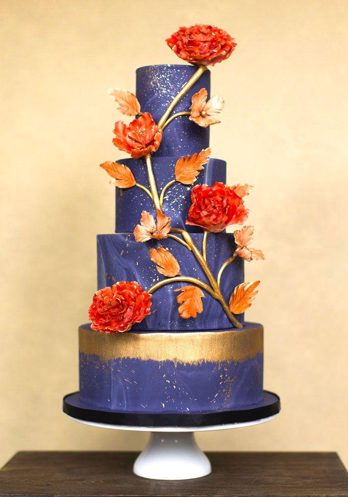 Blue wedding cake - Canada's Prettiest Wedding Cakes For 2016 | Weddingbells