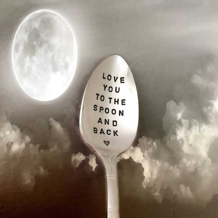 Love you to the spoon and back. Vintage silver plate stamped teaspoon.  Luna pun unique gift idea