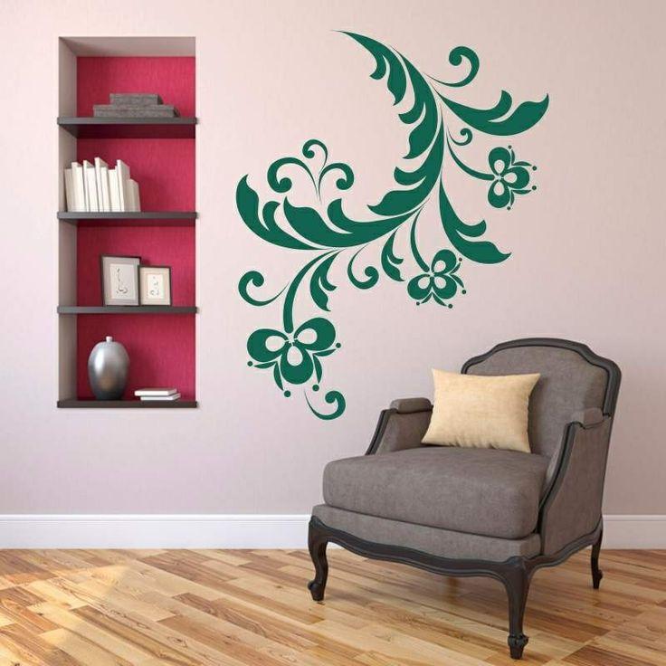 Naklejka jednokolorowa - Floral | Singlecolor decorative sticker - Floral | 27,99 PLN #kwiatek #naklejka #dekoracja_ściany #dekoracja_domu #aranżacja_ściany #wall_decal #sticker #flower #pattern #home_decor #interior_decor #floral