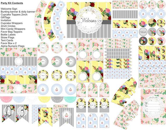 Shabby Chic vintage printable party pack for tea party