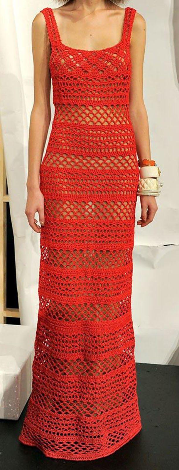 crochelinhasagulhas: Vestido vermelho longo em crochê