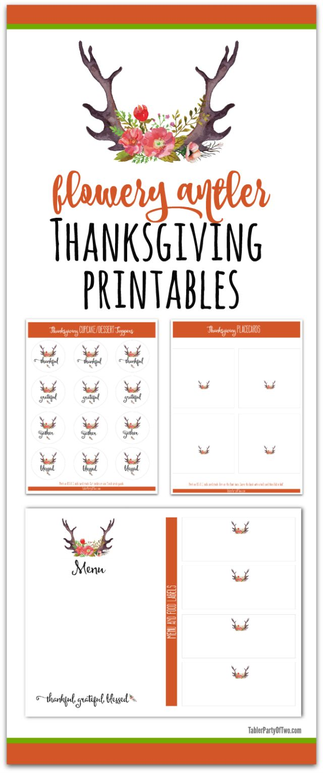 Flowery Antler Thanksgiving Printables are perfect with your neutral Thanksgiving palette!