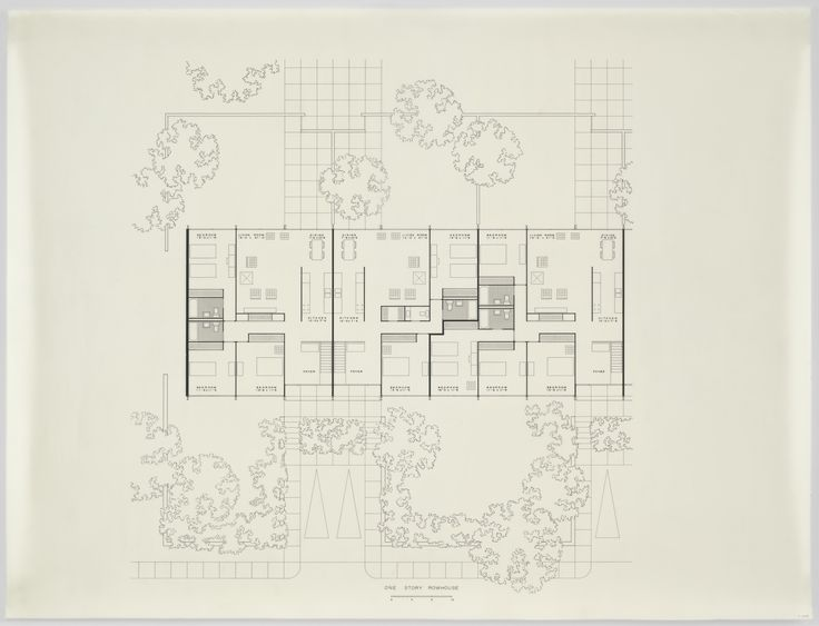 "Ludwig Mies van der Rohe. Pavilion Apartments and Town Houses, Lafayette Park, Detroit, MI, Plan (One Story Rowhouse.). 1955-63. Ink on acetate. 28 1/4 x 37"" (71.8 x 94 cm). Mies van der Rohe Archive, gift of the architect. MR5506.3. © 2017 Artists Rights Society (ARS), New York / VG Bild-Kunst, Bonn. Architecture and Design"
