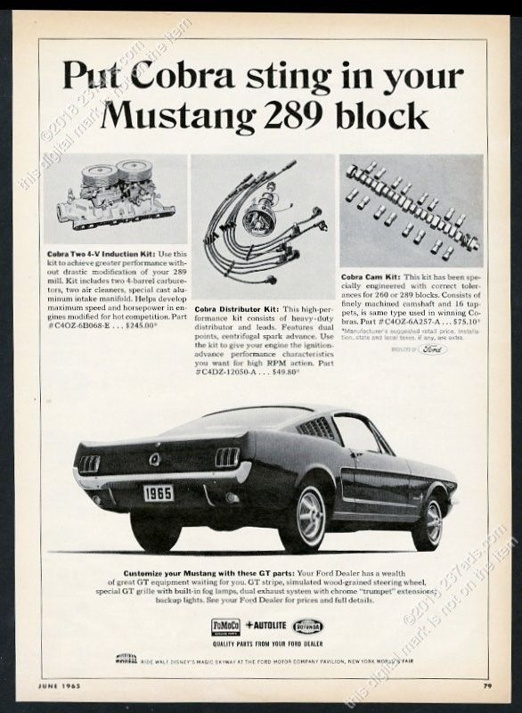 1965 Ford Mustang fastback car photo Cobra Kit performance