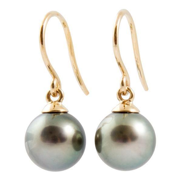 Tahitian Pearl Jewellery - 9K Yellow Gold Tahitian Cultured Black Pearl Hook Earrings