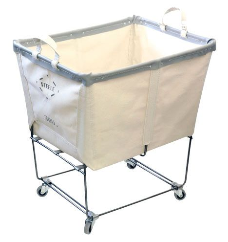 Large Steele Canvas Laundry Bin Holds 3 bushels Item#E7007 rejuvenation.com 139.00  I like that is steel-sturdy.. canvas is a resistant material.  Ideal for heavy laundry
