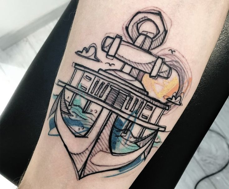 anchor, sketch style tattoo
