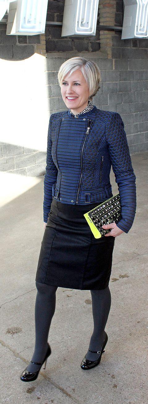 blue hue wonderland--over forty blogger--over 40 fashion--over 50 fashion-muture fashion--mature style--BCBG jacket--neon yellow bag