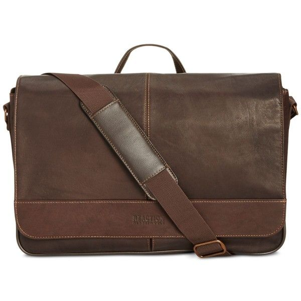 Kenneth Cole Reaction Men's Colombian Leather Computer Messenger Bag ($180) ❤ liked on Polyvore featuring men's fashion, men's bags, men's messenger bags, brown, mens brown leather messenger bag, mens messenger bag, mens courier bag and mens leather messenger bag