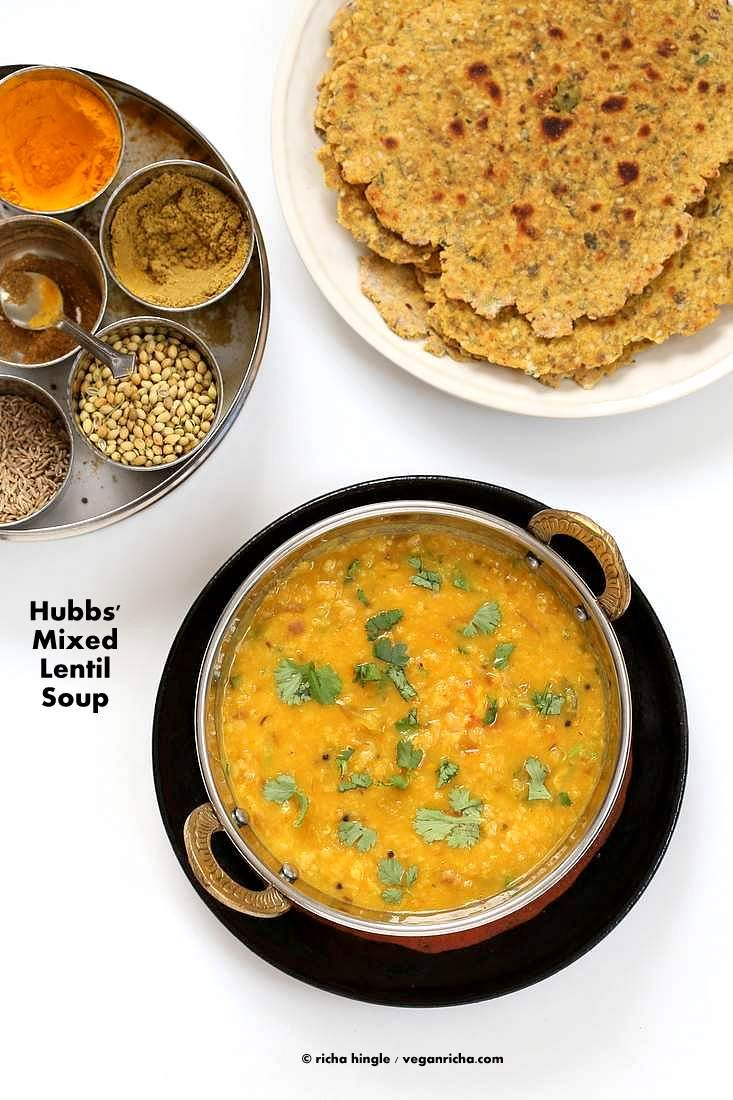 The Best Mixed Dal fry - Spiced Indian Lentil Soup. Easy Dal fry with cumin & mustard seeds. 30 mins. Vegan, gluten-free Indian Recipe How-to make Dal fry.