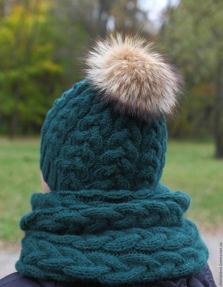 Купить Комплект изумруд шапка и снуд вязаный косы - тёмно-зелёный, орнамент, комплект вязаный