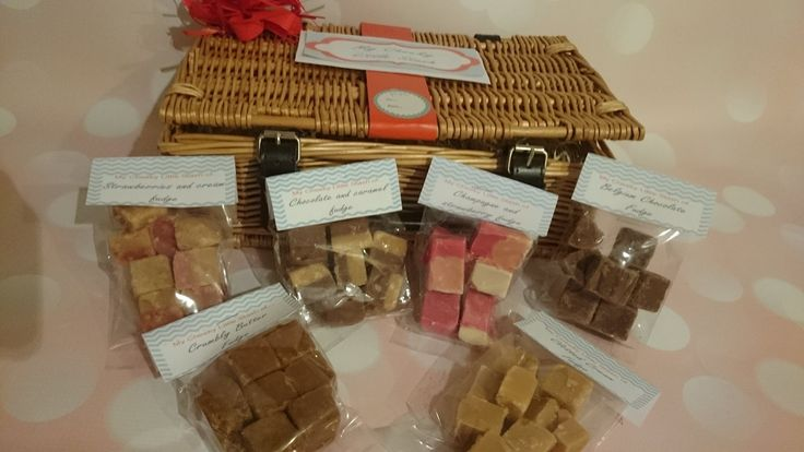 A real wicker basket full of fabulous fudge, icluding Champagne and strawberry, clotted cream, chocolate and caramel, crumbly butter, belgium chocolate and strawberries and cream! Mmm..... Please take a look on amazon and ebay for more yummy products! Just type in 'My Cheeky Little Stash'
