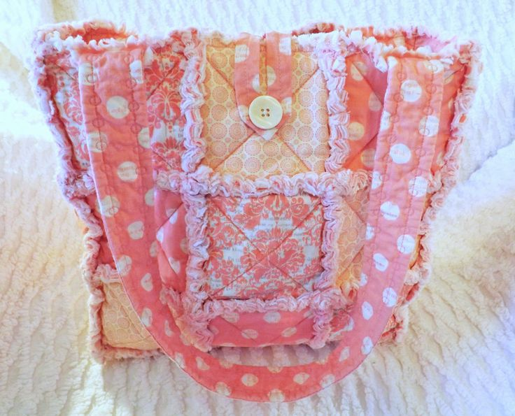 Rag Quilt Tote - Pink Damask and Polka Dot  - Dusty Pink - Melon Pink - Mother's Day - Summer Tote by RagQuiltsbyJulie on Etsy