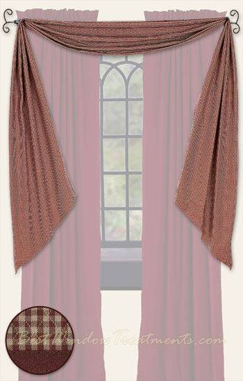 Brentwood Gingham Plaid Check Red Fishtail Scarf Swag Curtains In Quilted  Style | BestWindowTreatments