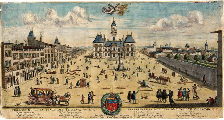 Perspective de la place des Terreaux où est représentée la face de la maison de Ville de Lyon, gravure,1653. musées Gadagne d'histoire de Lyon.