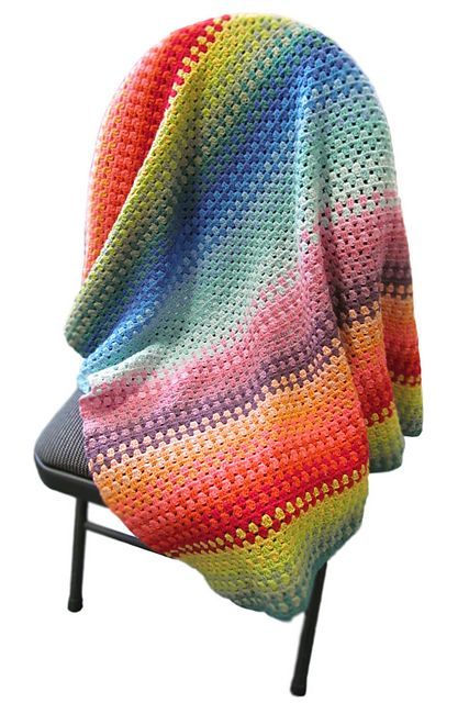 Ravelry: Sara's Granny Stripe Blanket. Free pattern. #crochet This would look great in fall colors with a splash of teal or lavender