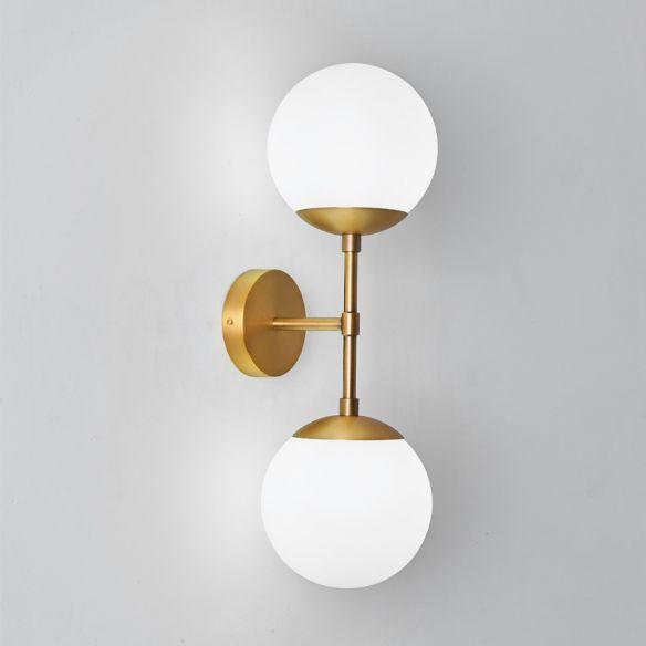 Armed Double Globe Wall Sconce Light Minimalist Milky Glass 2 Light Wall Mount Lamp In Brass 110v 1 In 2020 Brass Wall Light Wall Mount Light Fixture Brass Wall Lamp