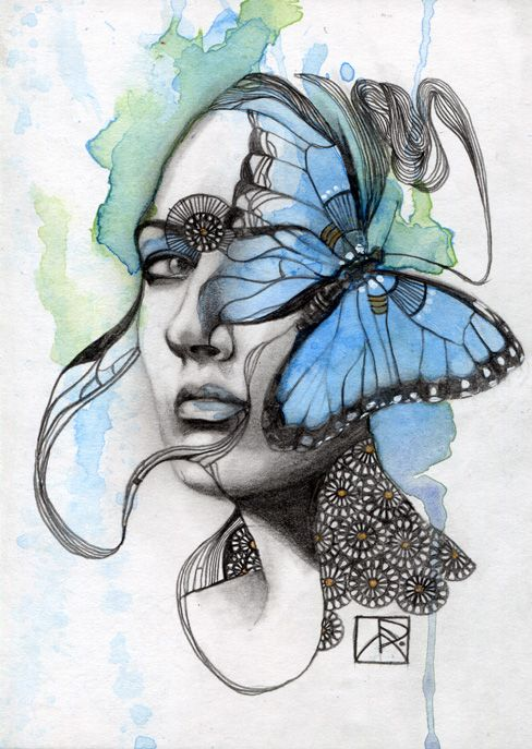 """""""Animal Spirit: Butterfly"""" Media: Pencil and watercolor on illustration board Size: 5"""" x 7"""" inches  Year: 2013  Transformation Renewal Rebirth Lightness of being Elevation from earthly matters The world of the soul and the mind  ........  This original illustration by artist Patricia Ariel is part of the serie..."""