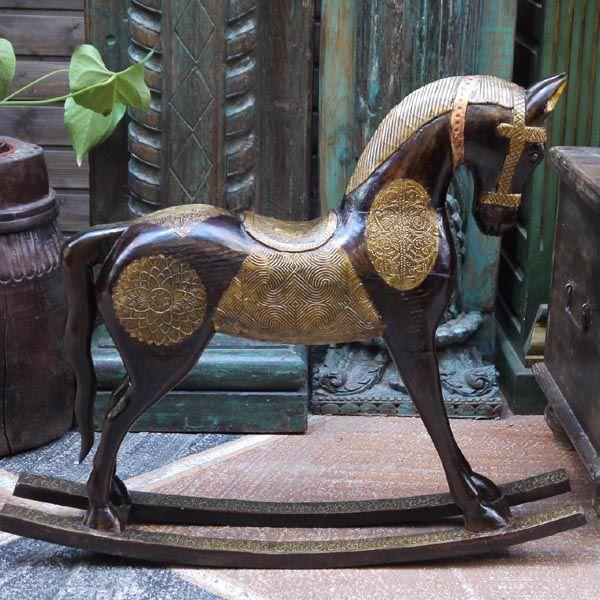 Лошадка-качалка детская, деревянная, украшенная латунью / Качели / КАТАЛОГ / мебель из массива, Индийская мебель, Восточная мебель