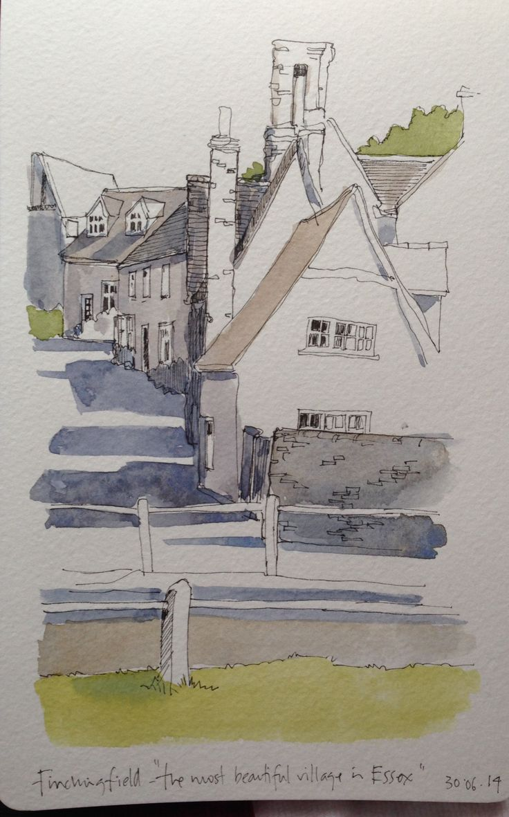 Art journal, urban art, sketchbook, travel diary. A sketch of 'the prettiest village in Essex' -Finchingdale.