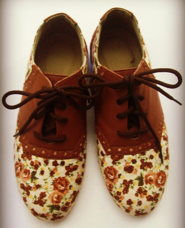 Cute Floral Oxford Shoes | Shoes | Pinterest | Vintage Shoes And Girls