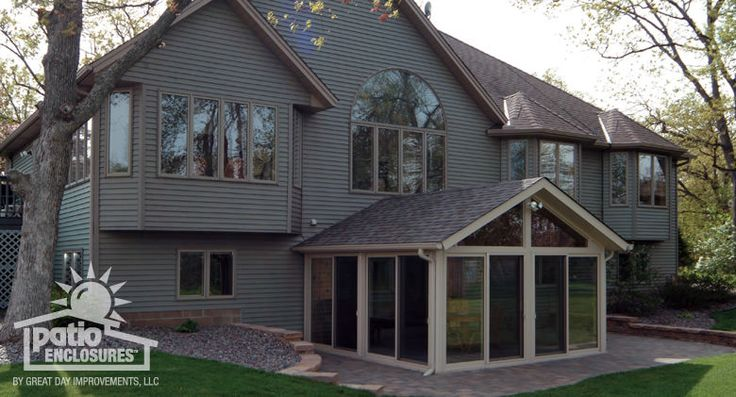 Sandstone vinyl frame all season room with gable roof for Gable roof addition