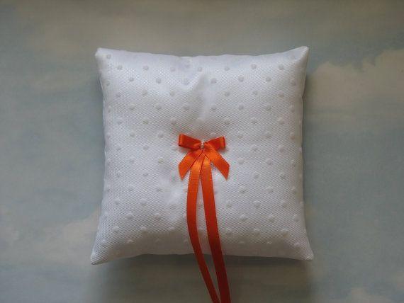 White ring bearer pillow. White ring cushion.