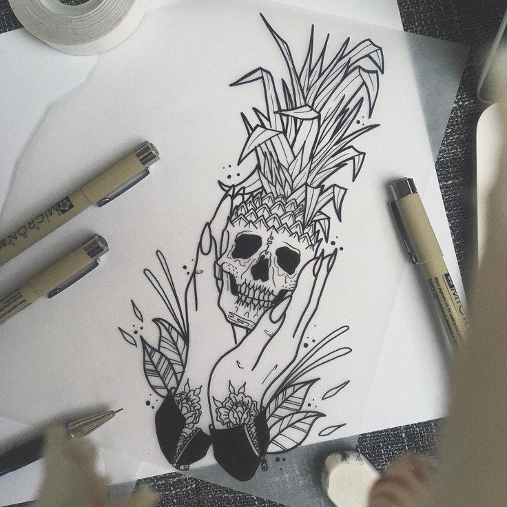 "104 Likes, 7 Comments - 〰 p h i l i p p 〰 (@phililililipp) on Instagram: ""• sweet on the inside • #pineapple #skull #girlswithtattoos #handtattoo #skulltattoo #skull…"""