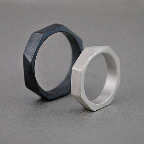 Alianzas de boda geométricas Anillo negro plata meta