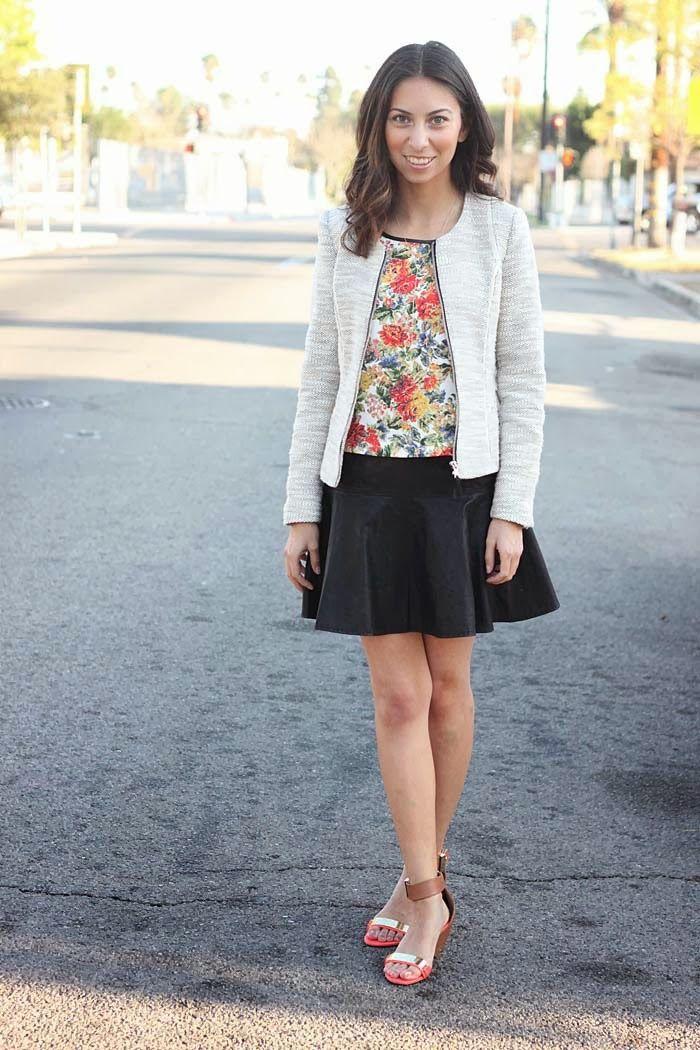 black skirt // floral blouse // tweed jacket // spring style