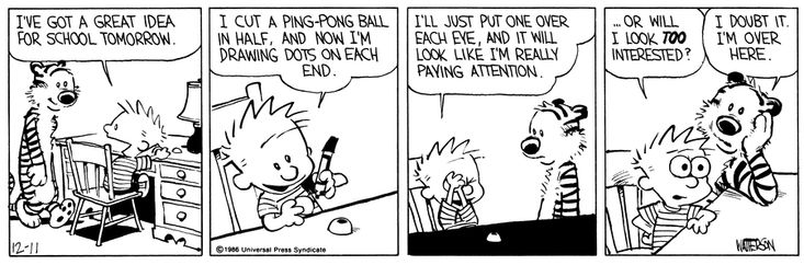 Calvin and Hobbes: Dealing with the Boring Moments. Maybe I should break out my ping pong balls!