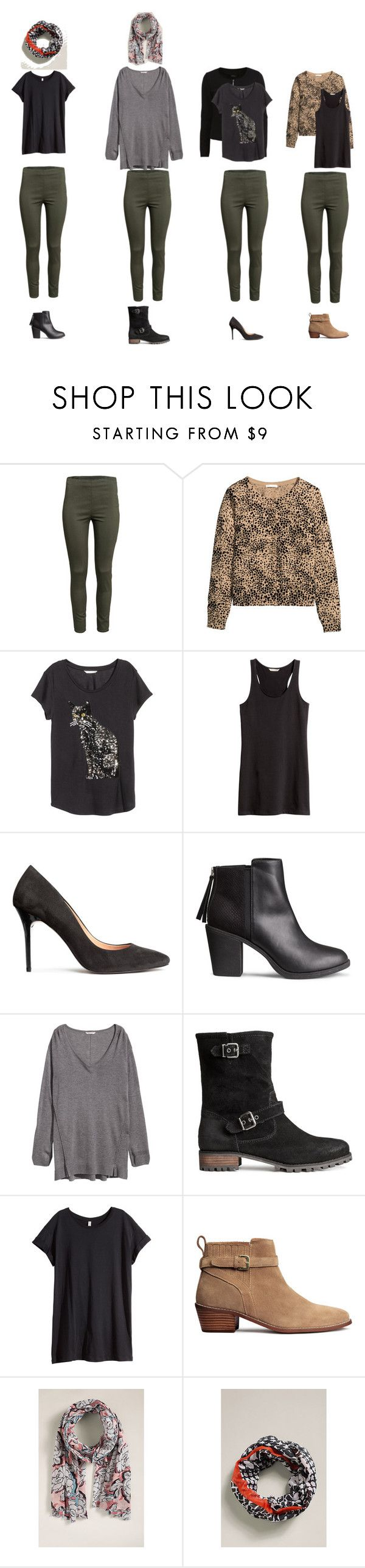 """""""4 set kaki trousers"""" by lone-haure-norrevang on Polyvore featuring H&M, women's clothing, women, female, woman, misses and juniors"""