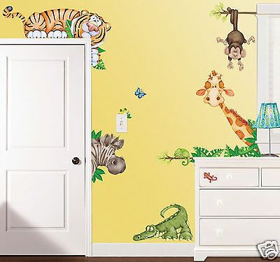 Jungle Safari Animals Kids Wall Decal Stickers Tiger, Monkey, Alligator, Giraffe | eBay