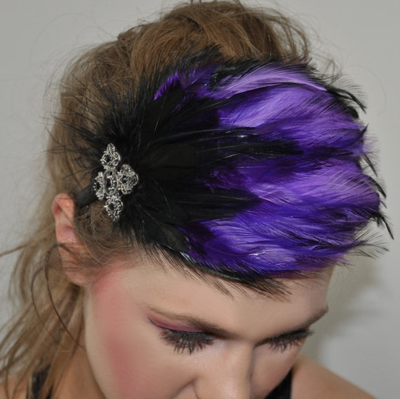 bloomer  Mystical Feather Headband in Black by SHOWYOURbloomers, $35.00