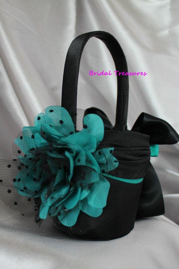 Flower Girl Baskets Black : Black satin flower girl basket with jade teal by