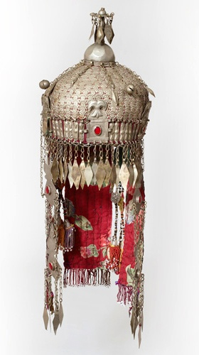 Turkmenistan | Woman's wedding hatt from the Turkoman people | Silk, cotton, metal, beads, wood and glass | ca. mid 20th century